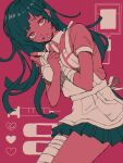 1girl alternate_color alternate_hair_color alternate_skin_color apron arm_between_breasts bandaged_arm bandaged_leg bandages bangs between_breasts blood blood_bag breasts collared_shirt colored_skin commentary_request crazy_eyes dangan_ronpa_(series) dangan_ronpa_2:_goodbye_despair eyebrows_visible_through_hair green_hair green_skirt heart highres hism_25_(tsumari) long_hair looking_at_viewer medium_breasts mole mole_under_eye open_mouth pink_background pink_shirt pink_skin puffy_short_sleeves puffy_sleeves red_background saliva shiny shiny_hair shirt short_sleeves skirt solo syringe tearing_up tears tsumiki_mikan