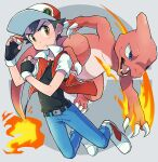 1boy bangs baseball_cap belt belt_buckle black_gloves black_hair blue_pants bo9_(bo9_nc) brown_eyes buckle buttons charmeleon claws closed_mouth commentary_request fangs fingerless_gloves fire flame frown full_body gen_1_pokemon gloves hands_up hat holding holding_poke_ball jacket male_focus open_clothes open_jacket open_mouth pants poke_ball poke_ball_(basic) pokemon pokemon_(creature) pokemon_(game) pokemon_rgby red_(pokemon) red_headwear shoes short_hair short_sleeves spiky_hair tongue white_footwear
