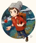 1boy bangs beanie bo9_(bo9_nc) brown_eyes brown_footwear brown_hair cable_knit commentary_request dated denim full_body grey_headwear hat holding_strap jeans male_focus open_mouth pants plaid poke_ball poke_ball_(basic) pokemon pokemon_(game) pokemon_swsh red_shirt shirt shoes sleeves_rolled_up solo standing suitcase swept_bangs tongue torn_clothes torn_jeans torn_pants victor_(pokemon)