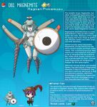 1boy 1girl artist_name bangs black_eyes blue_hair character_name character_profile cyclops electricity english_commentary english_text gen_1_pokemon hat hat_feather highres holding holding_shield holding_weapon joints kinkymation magnemite magnet one-eyed open_mouth oversized_object personification poke_ball poke_ball_(basic) pokemon robot_joints screw screw_in_head shield short_hair weapon