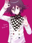 1boy absurdres bangs black_scarf blush character_name checkered checkered_neckwear checkered_scarf closed_mouth commentary_request danganronpa_(series) danganronpa_v3:_killing_harmony double_ok_sign hair_between_eyes highres jacket long_sleeves looking_at_viewer male_focus multicolored_hair nk_(dzzx8334) ok_sign ouma_kokichi pink_background pink_hair purple_hair scarf shiny shiny_hair short_hair simple_background smile solo straitjacket upper_body violet_eyes white_jacket white_scarf