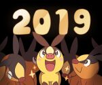 2019 :> :d alternate_color blush_stickers closed_eyes commentary gen_5_pokemon looking_up no_humans number open_mouth pokemon pokemon_(creature) shiny_pokemon smile sparkle ssalbulre tepig tongue