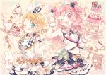 2girls ;d ;p ahoge argyle bear black_bow blonde_hair blue_eyes bow bowtie cake candy chocolate chocolate_heart cup food fork fruit hair_bow hair_ornament hairclip hand_up heart holding holding_tray kagamine_rin licking_lips long_hair momoi_airi multiple_girls navel o-ring one_eye_closed open_mouth piano_print pink_background pink_bow pink_eyes pink_hair project_sekai rabbit short_hair skirt smile spoon standing strawberry teacup tongue tongue_out tray two_side_up v vest wakanagi_eku white_bow wrist_cuffs