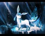 closed_mouth commentary_request frown full_body gen_4_pokemon glaceon green_eyes hy_26 light_beam looking_back no_humans pokemon pokemon_(creature) solo standing toes
