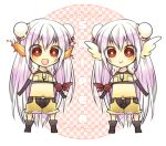 2girls :> :d ark_kan armband bangs blush brown_gloves brown_shirt brown_shorts bun_cover character_name chibi closed_mouth commentary_request crop_top dual_persona flaming_ears full_body fur-trimmed_shirt fur-trimmed_shorts fur_trim gloves hair_between_eyes head_wings light_purple_hair long_hair looking_at_viewer midriff multiple_girls navel open_mouth ragnarok_online red_eyes shirt shorts sleeveless sleeveless_shirt smile sniper_(ragnarok_online) two-tone_shirt two-tone_shorts very_long_hair white_wings wings yellow_shirt yellow_shorts zipper_pull_tab