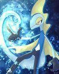 absurdres blurry bright_pupils bubble closed_mouth gen_8_pokemon hand_up highres inteleon kiri_leonotis pointing pokemon pokemon_(creature) signature smile solo white_pupils yellow_eyes