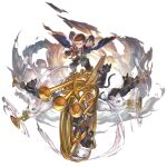 1boy black_cat blue_eyes brown_footwear brown_hair brown_pants cat clouds granblue_fantasy grey_eyes harvin instrument jewelry judgement_(granblue_fantasy) katzelia looking_at_viewer music official_art pants pendant playing_instrument robe smile transparent_background trumpet white_cat yellow_eyes