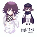 1boy arm_at_side bangs black_eyes black_footwear black_hair black_headwear blush_stickers buttons cape character_name checkered checkered_background checkered_scarf closed_mouth commentary_request cropped_torso danganronpa_(series) danganronpa_v3:_killing_harmony dated double-breasted flipped_hair full_body hair_between_eyes hand_up hat highres index_finger_raised jacket long_sleeves looking_at_viewer male_focus nk_(dzzx8334) ouma_kokichi pants peaked_cap scarf shoes short_hair simple_background smile standing straitjacket white_background white_jacket white_pants