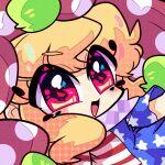 1girl american_flag blonde_hair close-up clownpiece eyebrows_visible_through_hair face harunori_(hrnrx) hat jester_cap neck_ruff open_mouth polka_dot red_eyes shirt solo star_(symbol) striped striped_shirt touhou unmoving_pattern