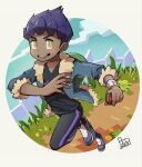 1boy bag black_pants black_shirt blue_jacket bo9_(bo9_nc) bright_pupils commentary_request dark-skinned_male dark_skin dated duffel_bag full_body fur-trimmed_jacket fur_trim grass green_bag holding holding_poke_ball hop_(pokemon) jacket leg_up male_focus open_clothes open_jacket open_mouth pants poke_ball poke_ball_(basic) pokemon pokemon_(game) pokemon_swsh purple_hair shirt shoes short_hair sleeves_past_elbows smile solo standing standing_on_one_leg teeth tongue white_pupils yellow_eyes