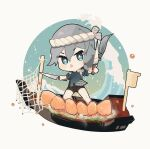 1girl artist_request bangs beige_background black_hair black_shorts blue_eyes blue_shirt boat chibi dual_wielding fishnets food fu_hua full_body hair_between_eyes highres holding honkai_(series) honkai_impact_3rd knife long_hair looking_at_viewer open_mouth ponytail shirt shorts sleeves_rolled_up solo v-shaped_eyebrows water watercraft