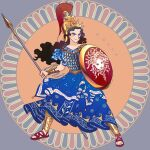 1girl animification armor aspis athena_(mythology) blue_background blue_dress blue_eyes brown_hair closed_mouth collarbone commentary_request dated dress eyelashes floating_hair full_body goddess greaves greek_clothes greek_mythology greek_text helmet holding holding_polearm holding_shield holding_spear holding_weapon long_hair medusa_(mythology) mythology polearm print_dress sandals satou_futaba_(loose_leaf) scale_armor shield short_sleeves signature simple_background smile solo spear standing twitter_username v-shaped_eyebrows vambraces weapon