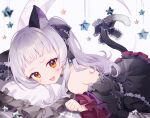 1girl animal_ears bangs blunt_bangs blush bow cat_ears cat_girl cat_tail chain_print detached_sleeves dress dress_bow frilled_dress frills gothic_lolita hair_ribbon hololive layered_dress lolita_fashion long_hair looking_at_viewer lying murasaki_shion on_stomach open_mouth pillow ribbon short_eyebrows sidelocks silver_hair sleeveless sleeveless_dress smile solo star_(symbol) tail tail_bow tail_ornament tugo virtual_youtuber wide_sleeves yellow_eyes