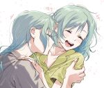 +++ 2girls :d absurdres bang_dream! bangs blush closed_eyes closed_mouth collarbone commentary_request eyebrows_visible_through_hair facing_another fingernails green_hair grey_shirt hair_behind_ear hair_down hand_on_another's_arm hand_on_another's_shoulder highres hikawa_hina hikawa_sayo incest kiss kissing_neck korean_commentary long_hair medium_hair motion_lines multiple_girls open_mouth profile shirt short_sleeves siblings sidelocks sisters smile twincest twins white_background yellow_shirt yuri zihacheol