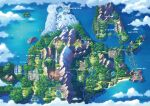 absurdres artist_request beach boat bridge building castle clouds crescent day fence highres huge_filesize island lighthouse map mountain no_humans ocean official_art outdoors poke_ball_symbol pokemon pokemon_(game) pokemon_bdsp pokemon_center river sand scenery snow tree water watercraft waterfall wind_turbine windmill