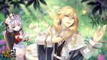 1boy 1girl :d :o artist_request bangs benghuai_xueyuan blonde_hair blue_eyes coat cup flower grass green_eyes hair_between_eyes highres holding holding_paper honkai_(series) honkai_impact_3rd long_hair long_sleeves mail nun official_art open_mouth otto_apocalypse outdoors paper purple_flower side_ponytail sitting smile sparkle table tea teacup teapot theresa_apocalypse white_coat white_hair