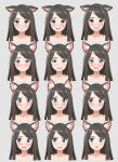 1girl :d absurdres aina_(mao_lian) animal_ear_fluff animal_ears blue_eyes blush brown_hair cat_ears closed_mouth completely_nude d: ears_down empty_eyes expressions false_smile grey_background highres long_hair looking_at_viewer looking_to_the_side mao_lian_(nekokao) multiple_views nude open_mouth original parted_lips portrait simple_background smile tears