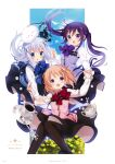 3girls :d absurdres animal_on_head artist_name bangs bird black_legwear black_skirt blue_bow blue_eyes blue_neckwear blue_vest bow bowtie bunny_on_head chestnut_mouth collared_shirt cup eyebrows_visible_through_hair floating_hair gochuumon_wa_usagi_desu_ka? hair_between_eyes hair_ornament highres holding_hands hoto_cocoa interlocked_fingers kafuu_chino koi_(koisan) light_brown_hair long_hair long_sleeves looking_at_viewer medium_skirt multiple_girls official_art on_head open_mouth page_number pantyhose pink_vest purple_hair purple_neckwear purple_vest rabbit rabbit_house_uniform red_bow red_neckwear shiny shiny_clothes shiny_hair shiny_legwear shirt silver_hair skirt smile spoon teacup tedeza_rize tippy_(gochiusa) very_long_hair vest violet_eyes white_shirt wing_collar x_hair_ornament