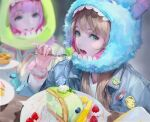 2girls alien_(toy_story) bangs blonde_hair blueberry blunt_bangs blurry blurry_background bm94199 cake character_hood cinnamoroll denim denim_jacket depth_of_field eating eyelashes food fork fruit fur green_eyes grin highres holding holding_fork jacket james_p._sullivan lanyard lilo_&_stitch long_hair looking_at_another looking_to_the_side makeup michael_wazowski monsters_inc. multiple_girls my_melody open_mouth pineapple pink_eyes pink_hair pins pixar plate pompompurin sanrio scrunchie scrunchie_removed smile solo_focus stitch_(lilo_&_stitch) strawberry teeth toy_story whipped_cream wrist_scrunchie