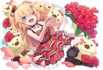 1girl :d akai_haato bare_arms bare_shoulders black_choker black_legwear blonde_hair blue_eyes bouquet bow choker dress eyepatch flower frilled_dress frills hair_bow hair_ornament hairclip heart heart_eyepatch heart_hands heart_necklace hololive layered_dress long_hair looking_at_viewer medical_eyepatch open_mouth red_dress red_flower red_rose rose short_dress sleeveless sleeveless_dress smile solo thigh-highs tokumaro two_side_up virtual_youtuber white_eyepatch