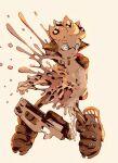1boy aozukikawasemi black_footwear blonde_hair blue_eyes boots dropping explosion full_body gun highres ink ink_tank_(splatoon) inkling looking_to_the_side melting short_hair simple_background solo splatoon_(series) splatoon_2 standing tentacle_hair weapon white_background