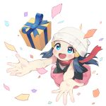 1girl arms_up bare_arms beanie black_shirt blue_eyes blue_ribbon blush box commentary_request confetti dawn_(pokemon) eyebrows_visible_through_hat eyelashes floating_scarf gift gift_box hat highres long_hair looking_up open_mouth pink_skirt pokemon pokemon_(game) pokemon_dppt red_scarf rekyu_(rcrcx2) ribbon scarf shirt skirt sleeveless sleeveless_shirt smile solo tongue white_background white_headwear