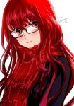 1girl bangs black-framed_eyewear black_coat blush closed_mouth coat commentary_request eyebrows_visible_through_hair glasses hairsmile highres komugi_(mugiwaraclub) lips long_hair looking_at_viewer persona persona_5 persona_5_the_royal pink_lips red_eyes red_scarf redhead scarf simple_background solo spoilers sweatdrop twitter_username upper_body very_long_hair white_background yoshizawa_kasumi