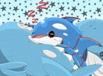 aya_kyogre character_doll closed_eyes commentary_request drooling gen_3_pokemon highres kyogre legendary_pokemon no_humans open_mouth pokemon pokemon_(creature) saliva sharp_teeth sleeping solo star_(symbol) stuffed_toy teeth tongue wailord zzz
