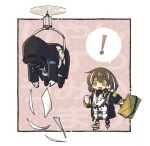 ! 1girl 1other abduction ambiguous_gender arknights black_coat blush_stickers border briefcase brown_hair chibi clenched_hand coat commentary_request doctor_(arknights) drone gloves holding holding_briefcase hood hood_up magallan_(arknights) mask mask_around_neck multicolored_hair nekomdr open_mouth outside_border skates spoken_exclamation_mark streaked_hair translation_request white_border white_gloves white_hair yellow_eyes