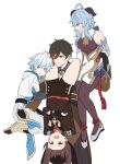2boys 2girls :d absurdly_long_hair absurdres ahoge aqua_eyes aqua_hair bangs bell black_hair blue_hair brown_eyes carrying_over_shoulder carrying_person chinese_clothes chongyun_(genshin_impact) detached_sleeves eyebrows_visible_through_hair ganyu_(genshin_impact) genshin_impact gradient_hair hair_between_eyes hat hayarob highres horns hu_tao_(genshin_impact) long_hair long_sleeves looking_at_viewer multicolored_hair multiple_boys multiple_girls neck_bell open_mouth red_eyes sidelocks simple_background sketch smile sweat twintails v-shaped_eyebrows very_long_hair white_background zhongli_(genshin_impact)
