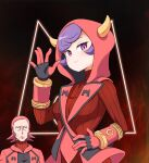 1boy 1girl ajia_(otya3039) bangs blush bodysuit breasts closed_mouth coat commentary_request courtney_(pokemon) eyebrows_visible_through_hair eyelashes fake_horns gloves hand_up hood hood_up horns looking_at_viewer maxie_(pokemon) open_clothes open_coat pokemon pokemon_(game) pokemon_oras purple_hair red_bodysuit red_coat redhead ribbed_bodysuit short_hair smile team_magma textless violet_eyes