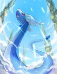 commentary_request day dragonair from_below gen_1_pokemon glint highres kagure_(karaguren) no_humans open_mouth outdoors pokemon pokemon_(creature) signature sky solo tongue violet_eyes