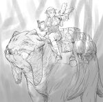 1girl bird book boots commentary dragon driving english_commentary gloves greyscale hat helmet highres holding holding_book jacket mole mole_under_eye monochrome original parted_lips pith_helmet riding shorts y_naf
