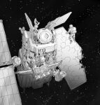1other ambiguous_gender astronaut commentary english_commentary from_behind greyscale monochrome original satellite space star_(sky) y_naf