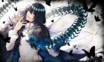 1boy black_hair blue_eyes bug butterfly cape centipede fate/grand_order fate_(series) fur_trim grin highres insect insect_wings looking_at_viewer male_focus mentaikopan oberon_(fate) shirt smile solo spoilers upper_body white_shirt wings