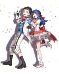 1boy 1girl :d bangs blue_hair blue_vest boots brown_footwear brown_hair capri_pants clenched_hand commentary_request dawn_(pokemon) eyelashes frills gloves grey_asa grey_eyes hand_on_another's_shoulder high_heels highres leg_up long_hair looking_at_viewer lucas_(pokemon) open_mouth pants pokemon pokemon_(game) pokemon_bdsp shirt short_hair smile standing standing_on_one_leg tongue upper_teeth v vest white_footwear white_pants