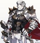 1boy animal_ears arknights belt black_belt black_tank_top bulge chain_necklace coat coat_on_shoulders covered_abs feet_out_of_frame furry graysheartart highres male_focus mountain_(arknights) muscular muscular_male pants pectorals scar scar_across_eye short_hair shoulder_spikes smile solo spikes tank_top tiger_boy tiger_ears white_fur white_hair white_pants