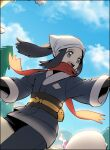 1girl :d akari_(pokemon_legends:_arceus) black_hair black_legwear black_undershirt clouds commentary_request day eyelashes floating_hair floating_scarf grey_eyes head_scarf jacket long_hair open_mouth outdoors outstretched_arm pantyhose pokemon pokemon_(creature) pokemon_(game) pokemon_legends:_arceus ponytail pouch raine_(acke2445) red_scarf riding riding_pokemon sash scarf sidelocks sky smile teeth tongue white_headwear wyrdeer