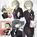 1boy 2girls ahoge akamatsu_kaede bangs black-jacket black_jacket black_pants blonde_hair blush book breasts brown_hair collared_shirt commentary_request cowboy_shot dangan_ronpa_(series) dangan_ronpa_v3:_killing_harmony eyes_visible_through_hair glove_pull gloves green_eyes grey_background grey_vest hair_between_eyes hair_over_one_eye hands_on_own_cheeks hands_on_own_face hands_up heart jacket long_sleeves medium_breasts mouth_pull multiple_girls multiple_views necktie open_book pants pink_sweater_vest pink_vest reading saihara_shuuichi shaded_face shirt short_hair speech_bubble suurin_(ksyaro) tailcoat thought_bubble toujou_kirumi towel translation_request vest white_background white_gloves white_shirt