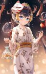 1girl :t absurdres animal baggy_pants bangs black_hair blurry blurry_background blush brown_hair candy_apple closed_mouth commentary depth_of_field eyebrows_visible_through_hair fish fish_hair_ornament food fox_mask goldfish hair_ornament hairband highres holding holding_food japanese_clothes kimono long_sleeves looking_at_viewer mask mask_on_head multicolored_hair nijisanji nijisanji_en obi pants petra_gurin pout print_kimono red_hairband sash short_hair solo streaked_hair twitter_username virtual_youtuber water white_kimono wide_sleeves wind_chime yukata zeroillya