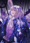 1boy absurdres blue_eyes crown fate/grand_order fate_(series) feather_boa fur_trim grey_hair highres huge_filesize male_focus nhwe5525 oberon_(fate) spoilers wings
