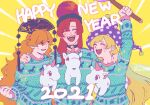 2021 3girls arm_up artist_name bangs black_choker black_headwear black_neckwear blonde_hair blue_sweater blush choker closed_eyes clownpiece crescent english_text eyebrows_visible_through_hair fire hair_between_eyes hand_on_another's_shoulder hand_up hat hecatia_lapislazuli horns jester_cap junko_(touhou) long_hair long_sleeves looking_at_another medium_hair multiple_girls open_mouth orange_hair polka_dot polos_crown pom_pom_(clothes) purple_fire purple_headwear raya_(uk_0128) red_eyes red_headwear redhead single_horn smile sweater torch touhou twitter_username unicorn yellow_background