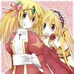 2girls ark_kan bangs bikini black_eyes blonde_hair bow breasts circlet closed_mouth commentary_request cross cross_necklace detached_sleeves dress eyebrows_visible_through_hair eyes_visible_through_hair flower flower_in_mouth frilled_hairband frills gypsy_(ragnarok_online) hair_between_eyes hair_bow hairband hands_on_another's_shoulders high_priest_(ragnarok_online) jewelry juliet_sleeves long_hair long_sleeves looking_at_another medium_breasts multiple_girls necklace open_mouth pink_background pink_bow pink_hairband pointy_ears puffy_sleeves ragnarok_online red_dress red_flower red_sleeves sash smile strapless strapless_bikini swimsuit two-tone_dress upper_body white_bow white_dress white_sash yellow_bikini