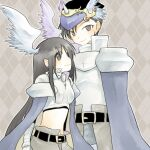 1boy 1girl argyle argyle_background ark_kan armor bangs belt black_belt black_eyes black_hair blue_cape blush boobplate breastplate brown_background brown_cape cape closed_mouth commentary_request cowboy_shot cross feathered_wings gauntlets head_wings leg_armor long_hair looking_at_viewer looking_to_the_side paladin_(ragnarok_online) pauldrons ragnarok_online short_hair shoulder_armor smile waist_cape white_wings wings
