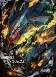 alternate_color black_sclera character_name claws colored_sclera commentary cyan_paper02 dragon eastern_dragon fangs gen_3_pokemon glowing highres legendary_pokemon looking_at_viewer mega_pokemon mega_rayquaza number open_mouth pokedex_number pokemon rayquaza red_eyes shiny_pokemon smoke