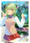 1girl ;q animal antenna_hair bangs black_legwear blurry blurry_background blush breasts brown_eyes bug butterfly butterfly_net character_request closed_mouth depth_of_field double_bun eyebrows_visible_through_hair glasses green_hair grey-framed_eyewear hand_net hands_up holding index_finger_raised indie_virtual_youtuber insect kou_hiyoyo lens_flare long_sleeves looking_at_viewer low_twintails neck_ribbon one_eye_closed pleated_skirt red_ribbon red_skirt ribbon shirt skirt small_breasts smile solo sweater_vest thigh-highs tongue tongue_out twintails virtual_youtuber white_shirt