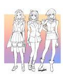 203wolves 3girls duel_academy_uniform_(yu-gi-oh!_gx) full_body izayoi_aki long_hair mazaki_anzu school_uniform standing tenjouin_asuka yuu-gi-ou yuu-gi-ou_5d's yuu-gi-ou_duel_monsters yuu-gi-ou_gx
