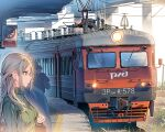1girl bag blonde_hair blue_eyes braid breasts closed_mouth commentary daito earrings expressionless french_braid grass green_sweater ground_vehicle hair_ornament hairclip jewelry medium_breasts railroad_tracks ribbed_sweater russia russian_text sign sweater train train_station train_station_platform