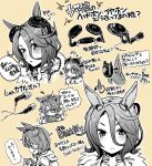 1girl animal_ears commentary_request earphones eyebrows_visible_through_hair hair_between_eyes handheld_game_console headphones holding holding_handheld_game_console horse_ears horse_tail masorin narita_taishin_(umamusume) nintendo_switch partial_commentary short_hair solo sweatdrop tail umamusume
