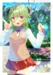 1girl :d animal antenna_hair bangs black_legwear blurry blurry_background blush breasts brown_eyes bug butterfly butterfly_net character_request commentary_request depth_of_field double_bun eyebrows_visible_through_hair glasses green_hair grey-framed_eyewear hand_net hands_up holding index_finger_raised indie_virtual_youtuber insect kou_hiyoyo lens_flare long_sleeves looking_at_viewer low_twintails neck_ribbon open_mouth pleated_skirt red_ribbon red_skirt ribbon shirt skirt small_breasts smile solo sweater_vest thigh-highs twintails virtual_youtuber white_shirt
